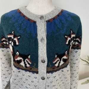 Woolrich Foxes Family Mountain Woods Nordic Cardigan Metal Button Sweater